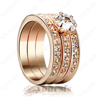 Wholesale Hot Sale Unique Triple K Rose Gold Plated Use Austria Crystal Emulational Diamond in bling Ring wedding jewelry R139R1