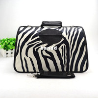 Wholesale 2013 New arrival pet dog foldable carring bag cat outdoor carrier with black leopard printing Size S M L