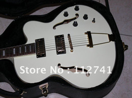 new hollow body Jazz guitar white color electric guitars musical instrument A123