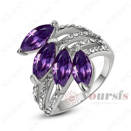 Yoursfs Lady Elegant Sapphire Fashion Ring Use Four Purple Austria Crystal 18 K white Gold Plated Bling Rings for Women Popular Jewelry Gift