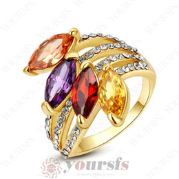 Yoursfs Elegant Sapphire Use Colorful Football Shape Austria Crystal Fashion Rings 18 K Rose Gold Plated Engagement Wedding Band Jewelry