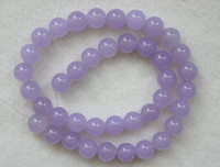 Wholesale Brand New mm purple Jade Round Loose Beads inch