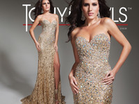 Wholesale Shinning New Sweetheart Sheath Sexy Gold Sequence Prom dresses Long High Split Formal Dress Evening Pageant Gown QU