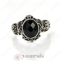 black onyx rings - Mother s Day austrian crystal ring Glorious Charm Sapphire Jewelry K white Gold Plated Man s black onyx Rings R166W1