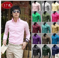 Wholesale Christmas Newest Mens Candy Slim Fit Luxury Casual Stylish Dress Shirts Colours Sizes