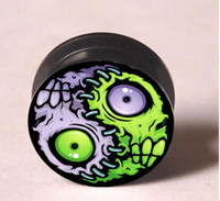 Wholesale Zombie pattern ear plugs tunnel mixing sizes body piercing jeweley flesh tunnel EP980