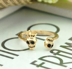 plated gold wedding rings jewelry women men crown skull love ring personalized 24pcs lot the popular - Skull Wedding Rings For Men