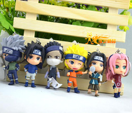 "Free shipping Anime Naruto 2.8"" Haruno Sakura take Kakashi PVC Figure Toy Key Chain (6 pcs set )"