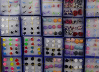 Wholesale Candy Color Earrings Pearl Earrings Resin Crystal Earrings Children Girls Women Jewelry Box Pack Mix Colors Style Studs Earring