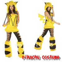 Wholesale Sexy Adult Halloween Cosplay Costumes Pikachu Mascot Plush Animal Costume For Women Yellow Party Uniforms Set
