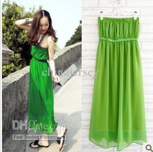 2014 Summer NEWest Green Tube Dress Strapless Boob Tube Top Dress ...
