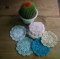 Wholesale cotton hand made crochet doily lace cup mat vase mat coaster x10cm table mat customization