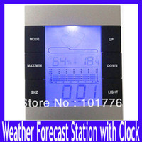 Kitchen Infrared Thermometer DM-3210 Free shipping weather forecast station with clockand four icons:sunny,light cloud cover,cloudy and rain .5pcs lot