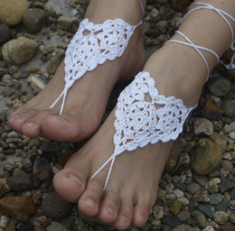 Wholesale - Heart Barefoot Sandals, Foot Jewelry, Beach Wear, Yoga, Foot Thongs, Bridal bridesmaid wedding sandals, Crochet Sandals tmx130