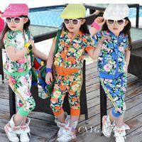 Wholesale girls flower zipper sets short sleeve tops pants outfits children suits summer garment kids