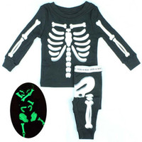 Wholesale Children Set Kids Suit Outfits Fashion Boy And Girl Human Skeleton Long Sleeve T Shirt Infant Casual Pants Kids Sets Baby Suit Long Trousers