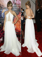 Wholesale Taylor Swift Inside Celebrity Evening Dresses White Chiffon Halter Backless A Line Ruched Long