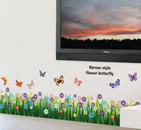 Wholesale Eco friendly cm green grasses Flower garden art wall stickers decor Decals for baby Kids Room nursery t5464