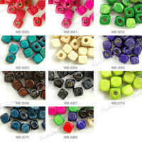 Wholesale MIC x6mm Mix Colors Wooden Cube Loose Beads Jewelry DIY