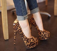 Women Pumps Spring and Fall Women Stiletto Heel Dress Shoes High Flatform Nightclub Leopard 2013 New Arrival 1prs Lot Free Shipping 130702S7