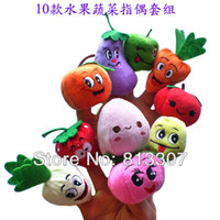 Wholesale Fruit Veggie Finger Puppets Set Educational Toys Stuffed Toys Different Fruits and Greenstuff