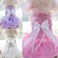 Wholesale Bowknot Beading Pet Dog Rosette Wedding Bridesmaids Dress Bridal Set Veil White Satin Clothes Costumes B0648