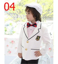 Wholesale Formal Suits for Boys Weeding Dress Stage Wear White Suits Lapel Coat Long Sleeves Shirt Black Pants High Quality Suit E102