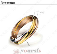 Wholesale Wedding Party Ring austrian crystal ring Lady s Stylish Jewelry Three Color K Gold Plated in Fashion Wedding Ring R172Y1