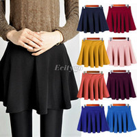 Wholesale 2014 new Fashion Women Ladies Elastic Waist Pleated Flared Skater Mini Skirt dress colorful