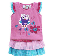 Wholesale Kids Brand New Giggle and Hoot girl girls t shirt top skirt suit set pieces clothing Outfits