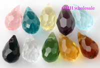 Wholesale OMH x13mm colors or pink black mixed color to choose drop Water droplets faceted glass crystal beads Sj195
