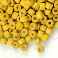 Wholesale MIC X4mm Yellow Color Wooden Tube Loose Beads Bead
