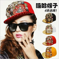 Wholesale New Fashion caps Punk Hip hop Spikes Rivets Studded Button Skull Adjustable Fitted Baseball Hats EMS colors mixed