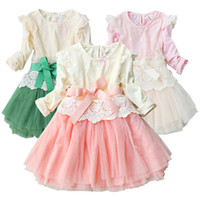 Wholesale Retail New Arrival Girl Lace Dress Baby Embroidered Flower Princess Dress Autumn Children Chiffon Cotton Lining Tutu And Hem Gauze With Belt