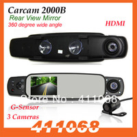 2 channel 2.7 G-Sensor 2013 New HD Car DVR Rear View Mirror 2000B with 3 Cameras 3.0'' TFT Car Mirror with G-Sensor and GPS (optional) free shipping