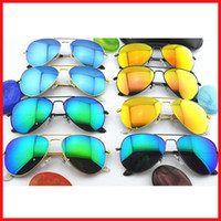 Wholesale 10PCS High Quality Color film lenses Mirror sunglasses Unisex sunglasses mens sunglasses Woman glasses Color film glasses With box