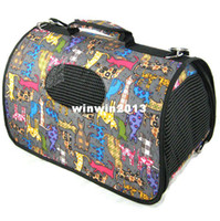 Wholesale New arrival pet dog carring bag cat outdoor carrier with black cat dog printing Size S M L