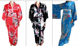 Wholesale Traditional Japanese ethnic dress sexy kimono robe hot japanese kimonos satin kimono dress