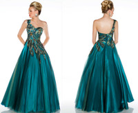 Reference Images One-Shoulder Tulle Custom Made Peacock Feather Tulle A-line One Shoulder Formal Evening Wedding Party Dress Prom Pageant Dress Graduation Ball Gown RL1388