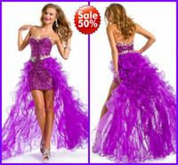 Wholesale Sweetheart Paillette Sleeveless Prom Dresses - 2016 Cascading Hi Lo Purple Ruffle Bling Bling Crystals Beads Paillette Sequined Sheath Sexy Prom Pageant Dresses 2017 New Cheap Formal Gown