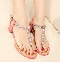 Women Chunky Heel PU T Style Women Sandals 2013 Summer Diamond Pink
