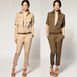 Wholesale Cool Cotton Khaki Army Green Ladies Women Uniform Jumpsuits Trousers Long Sleevele Western
