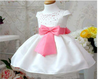 TuTu belted silk dress - Princess girl dress White girl dress with shining small pearl Short sleeves baby girl dress with purple bowknot belt