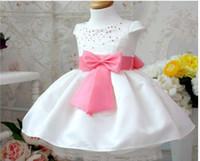 TuTu baby silk purple - Princess girl dress White girl dress with shining small pearl Short sleeves baby girl dress with purple bowknot belt
