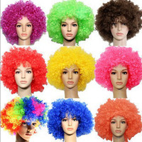 Wholesale World Cup Clown Wig Party Wigs Masquerade Halloween Christmas Explosion Head Colorful Ball fans Wigs g