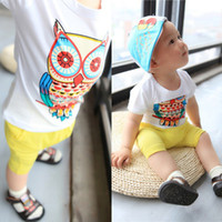 Wholesale Cute Boys Girls Summer Pure Cotton Clothes Short Sleeved Owl Pattern Printing T Shirts Adorable Children Cartoon Clothes White Age Y