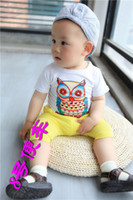Unisex Summer  2013 Boys Girls Summer Pure Cotton Clothes Short Sleeved Owl Pattern Printing TShirts Adorable Children Cartoon Clothes White Age 2-7Y 8752