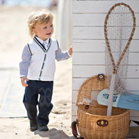 Wholesale Children Set Kids Suit Outfits Fashion Wear Long Sleeve Stripe T Shirts Boys White Waistcoats Casual Pants Long Trousers Baby Suit Kids Sets