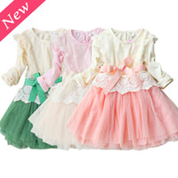 Wholesale New Arrival Girl Lace Dress Baby Embroidered Flower Princess Dress Autumn Children Chiffon Cotton Lining Tutu And Hem Gauze With Belt Color