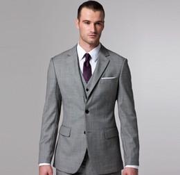 Light Grey Side Slit Two Buttons Groom Tuxedos Notch Lapel Best Man Groomsmen Men Wedding Suits Bridegroom (Jacket+Pants+Tie+Vest) J1